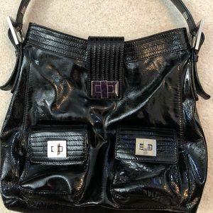Kooba black patent leather large hobo handbag